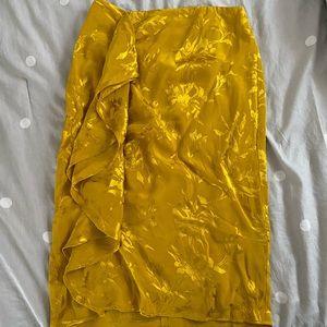 Zara yellow satin skirt